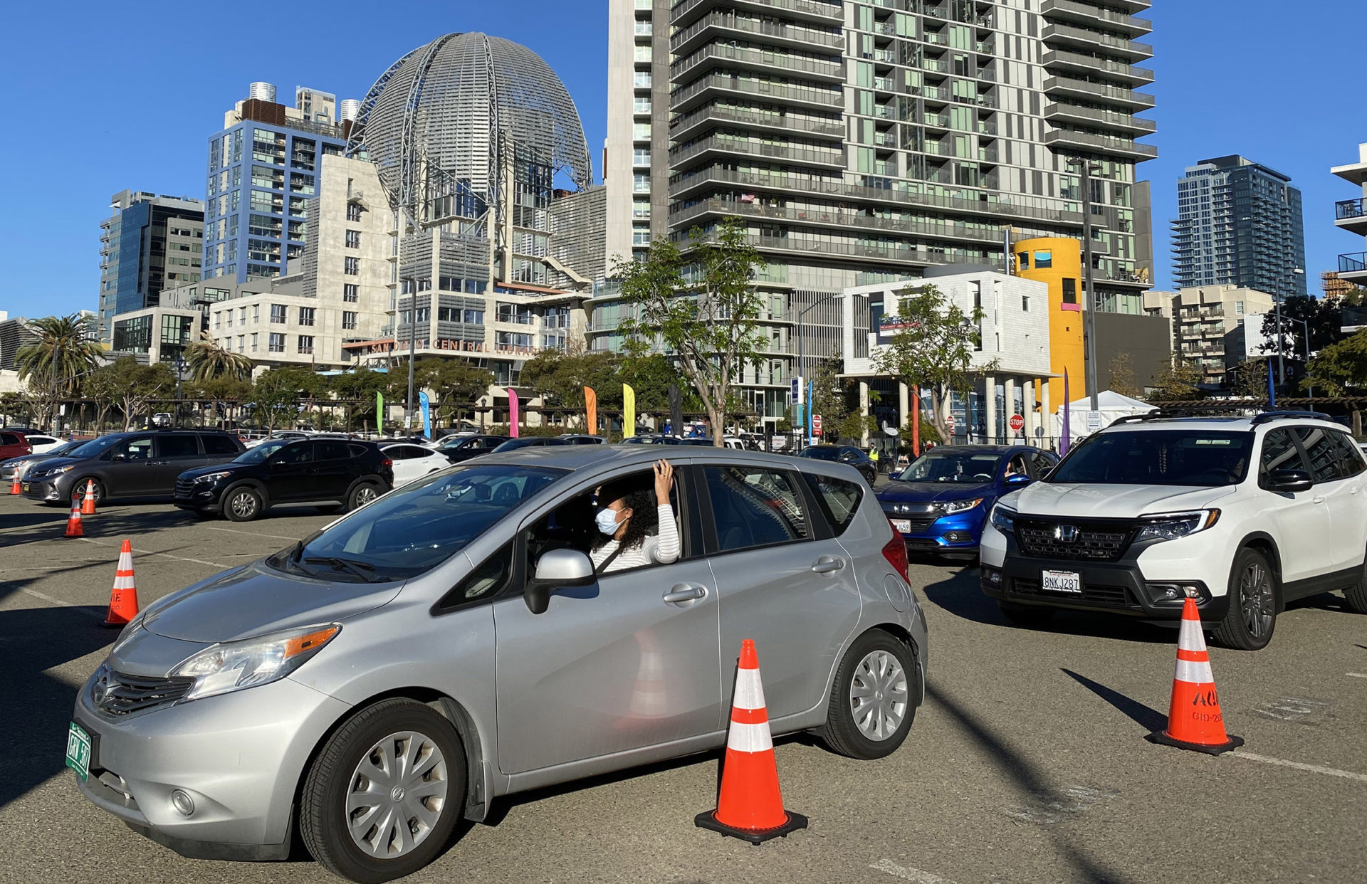 cars line up at vaccination event at Petco Park