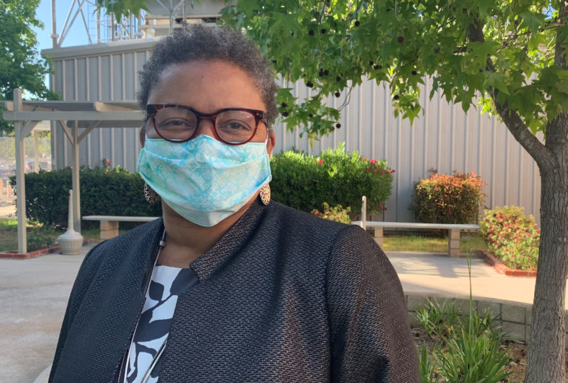 Dr. Wilma Wooten wearing a face covering