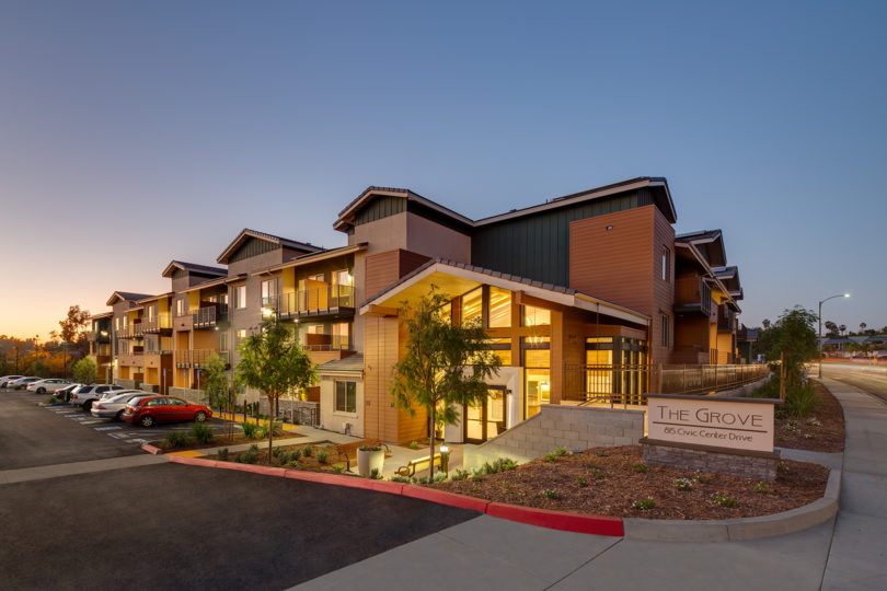 The Grove apartment complex at night