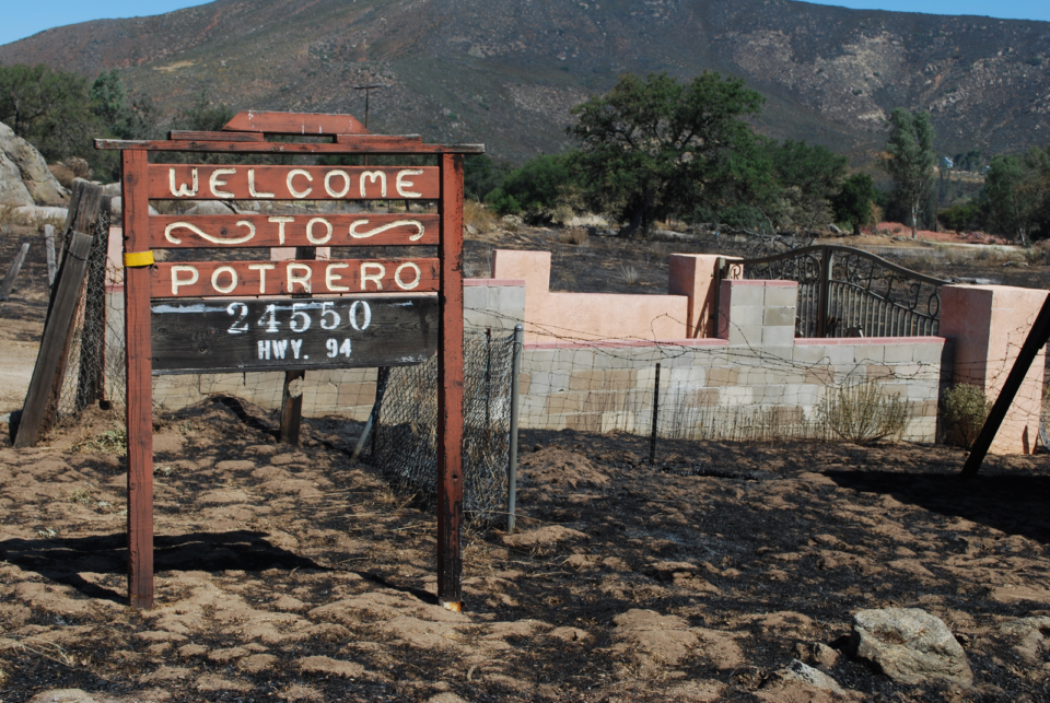 Potrero Sign in aftermath of Border Fire