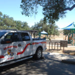 A County fire vehicle at the Incident Base in Potrero Regional Park.