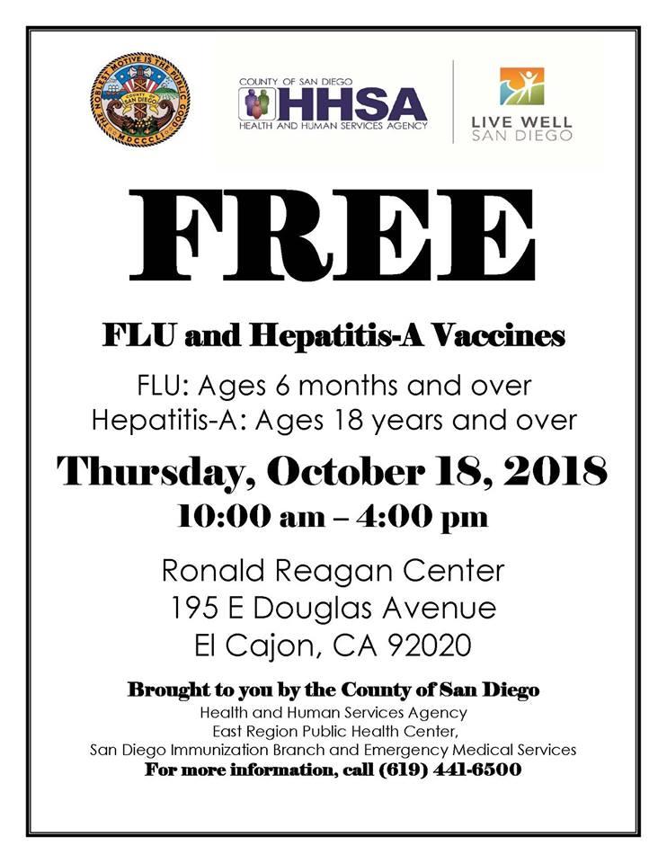 Free Flu and Hepatitis A Vaccinations in El Cajon