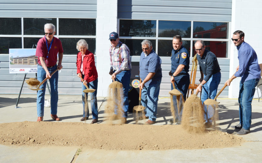 County officials take part in a groundbreaking ceremony for the new  Pine Valley Station 44.