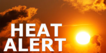 logo of an orange sky with words: Heat Alert