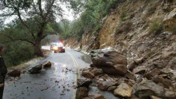 The winter storms caused damage throughout the County such as flooding and this rockslide on Wynola Road in Julian.