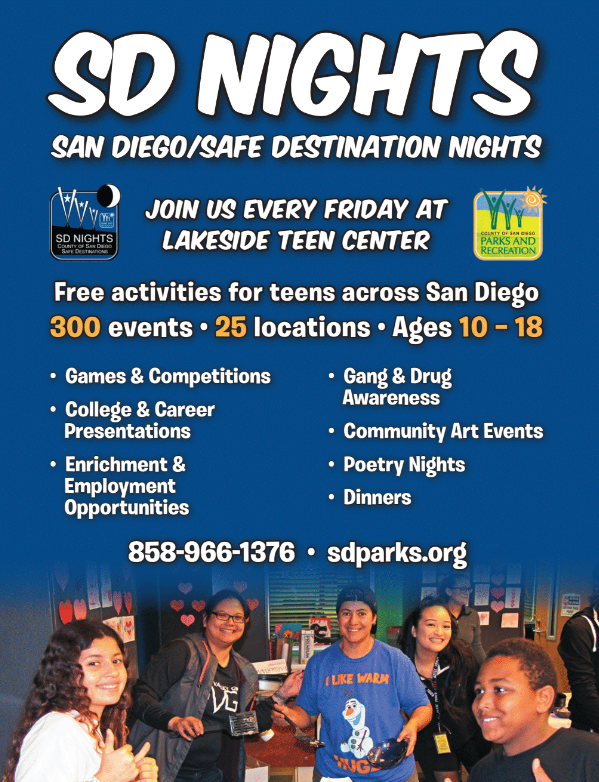 Lakeside San Diego/Safe Destination Nights for Ages 10-18