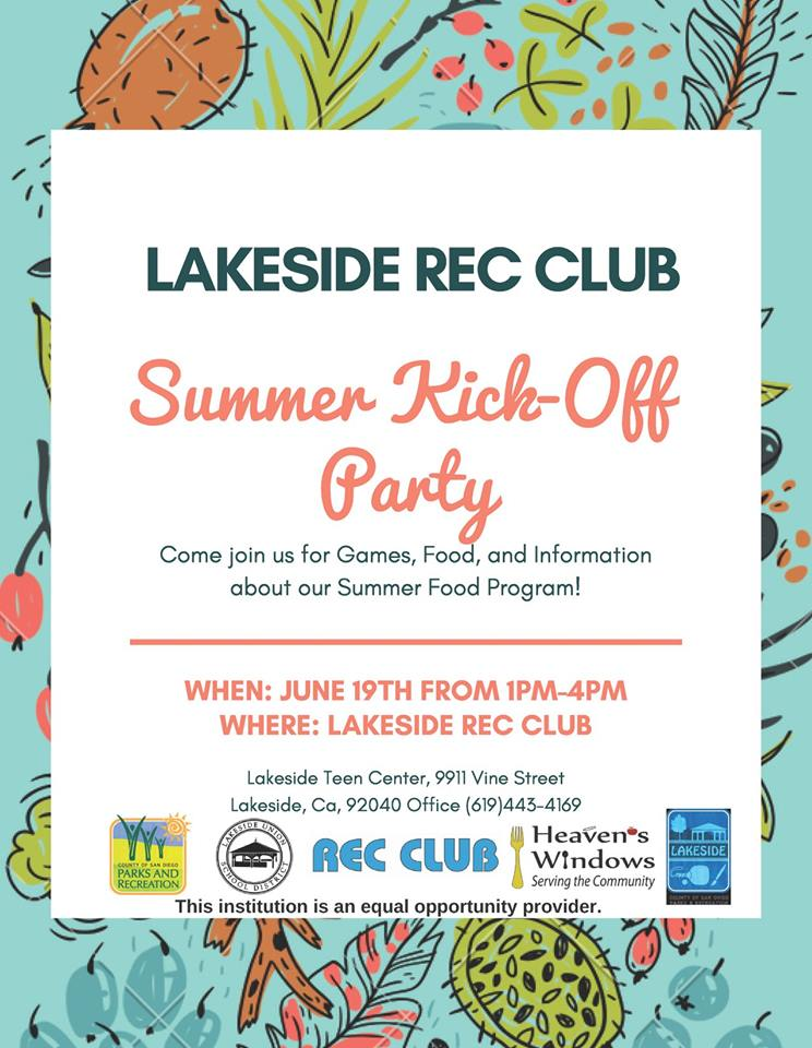 Lakeside Rec Club Summer Kick-Off Party