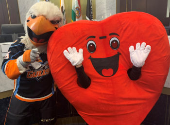 Gulliver, the San Diego Gulls mascot, and Hearty the Heart