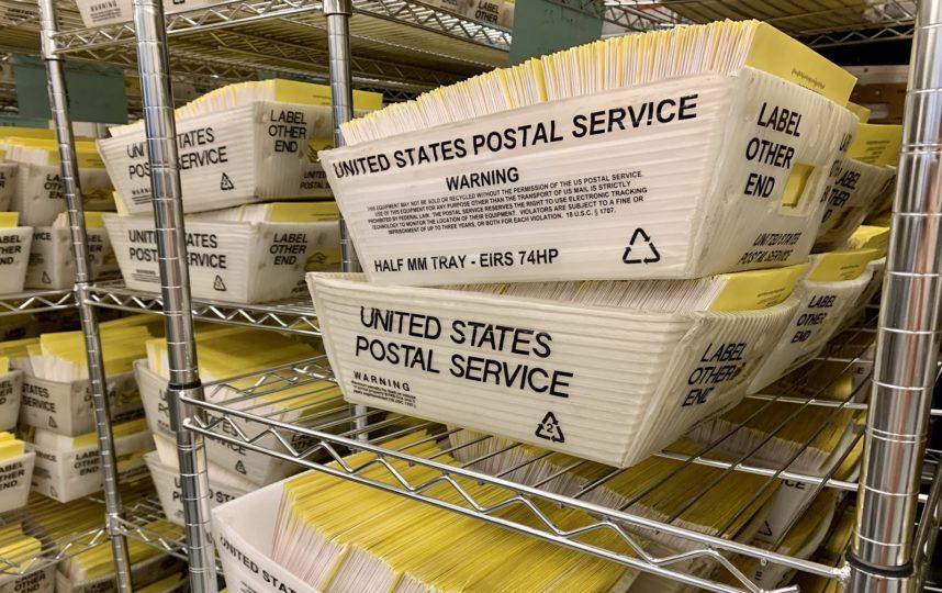 box of ballots on shelves