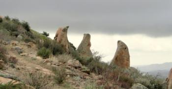 an outcrop of boulders shaped like fangs