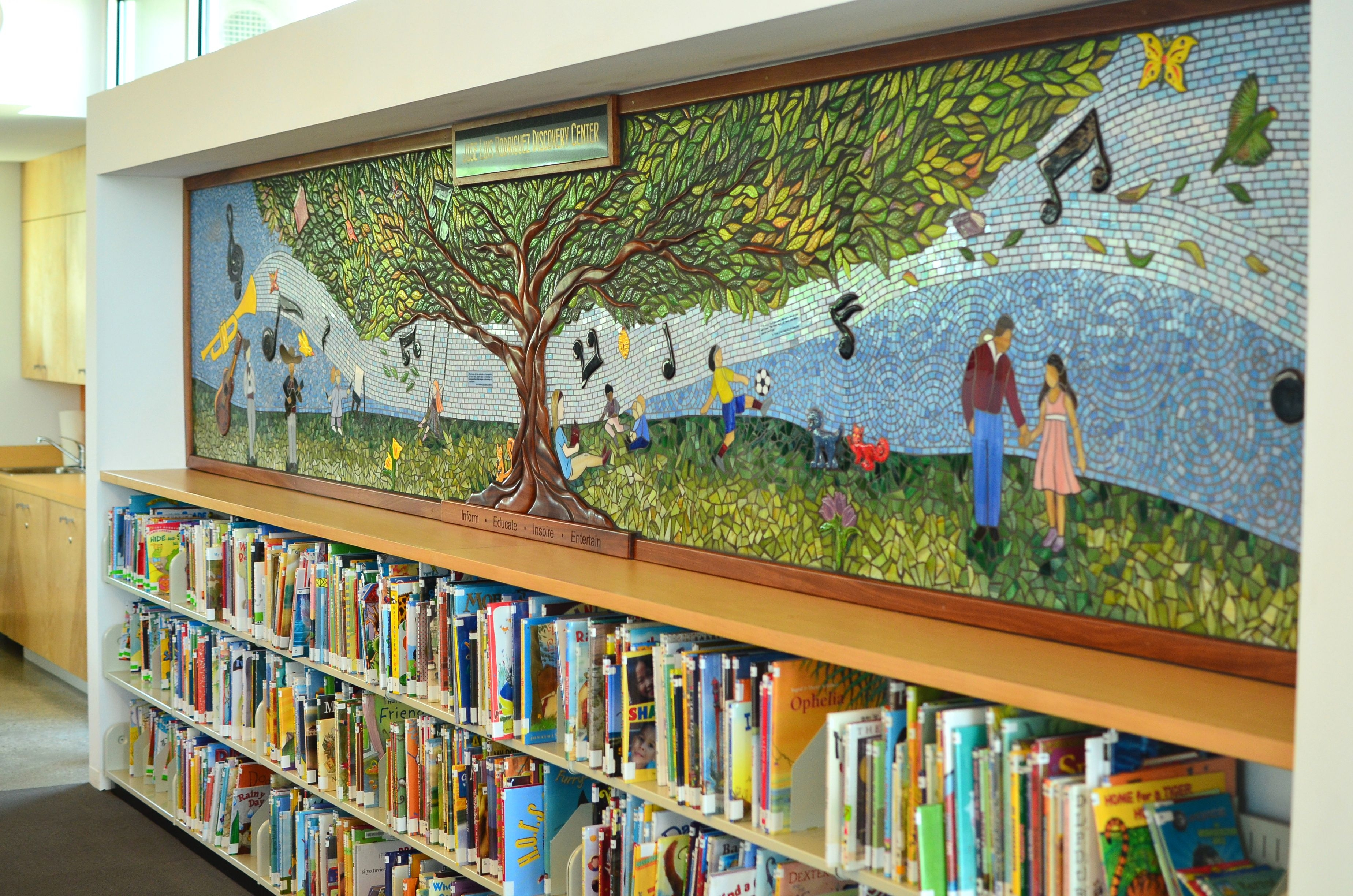 New mural reflects love for the library news san diego for Mural school