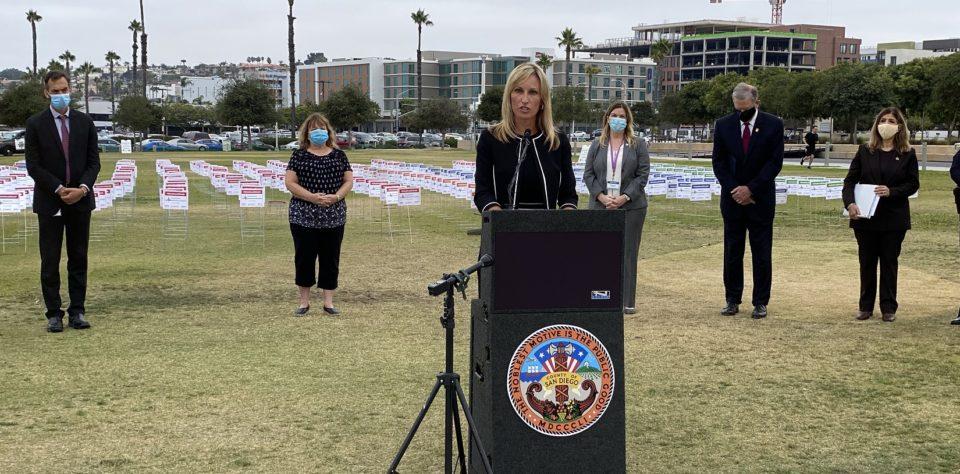 Supervisor Kristin Gaspar standing at a podium.