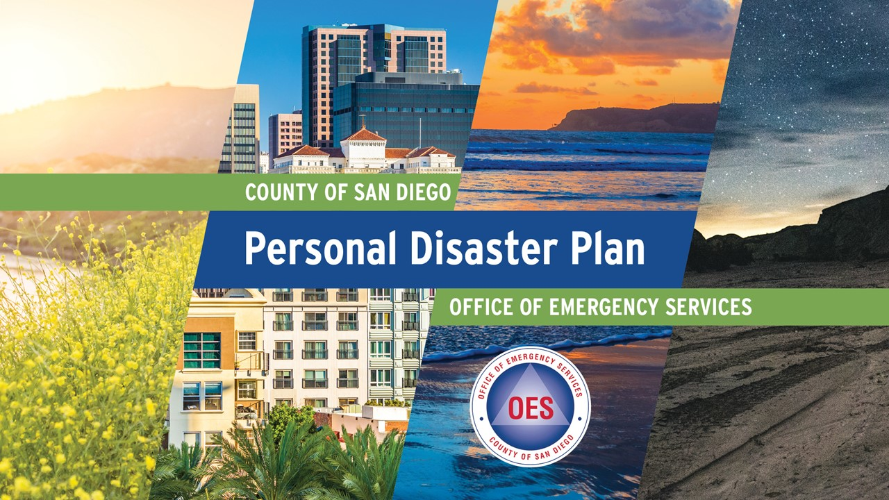 A cover page of the new Personal Disaster Plan guide which shows various scenes in San Diego County.