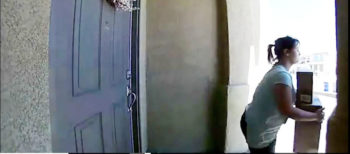 This is a photo of an actual package theft that occurred in San Marcos in 2016. At the time, the San Diego Sheriff's Department published the photo to try to identify the woman.
