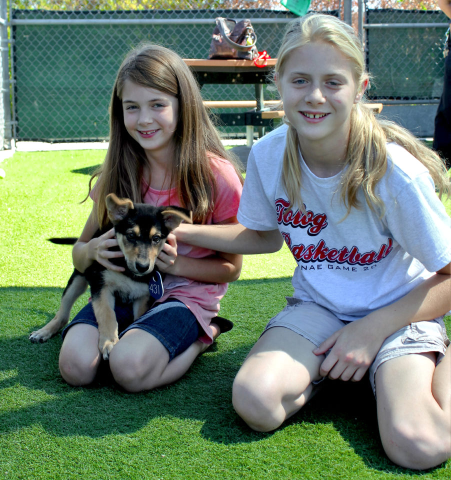 Abby and Faith with their newest family member, Millie.