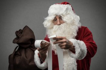 Santa checking receipts