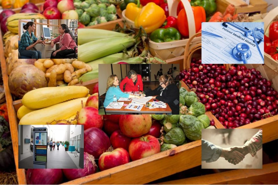 images over a box of fruit and vegetables