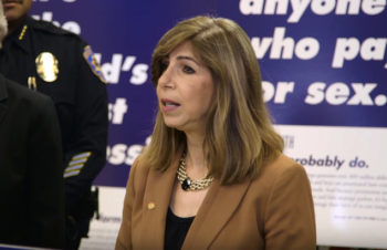 Chief Deputy District Attorney Summer Stephan appointed Interim District Attorney by the County Board of Supervisors. She is seen here at a 2016 sex trafficking news conference.