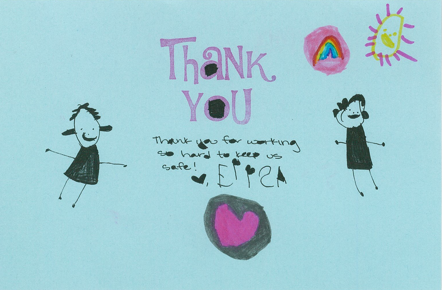 A thank you card sent to the County Public Health Lab