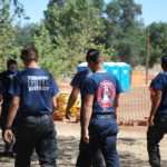 Tuolumne County firefighters leaving the Border Fire Incident Base.