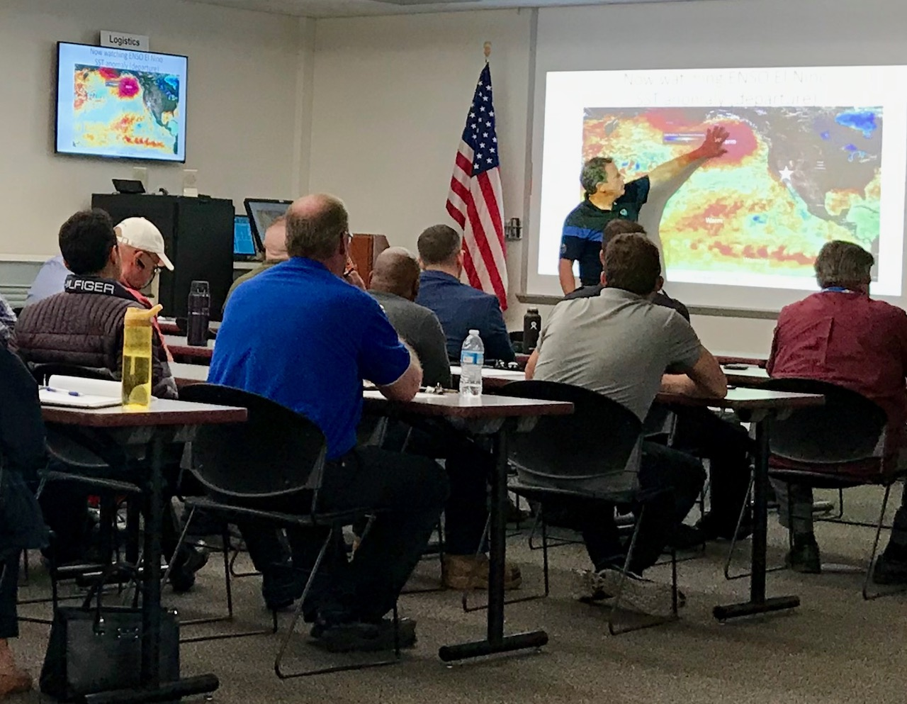 National Weather Service forecaster Alex Tardy talks to first responders about developing ocean conditions and how it could affect our winter.