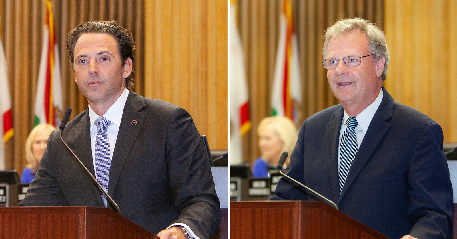 Supervisors Nathan Fletcher (left) and Jim Desmond (right) at their swearing-in ceremony.