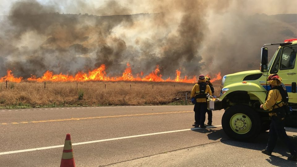 Fire crews working on the Gate Fire  near Jamul.