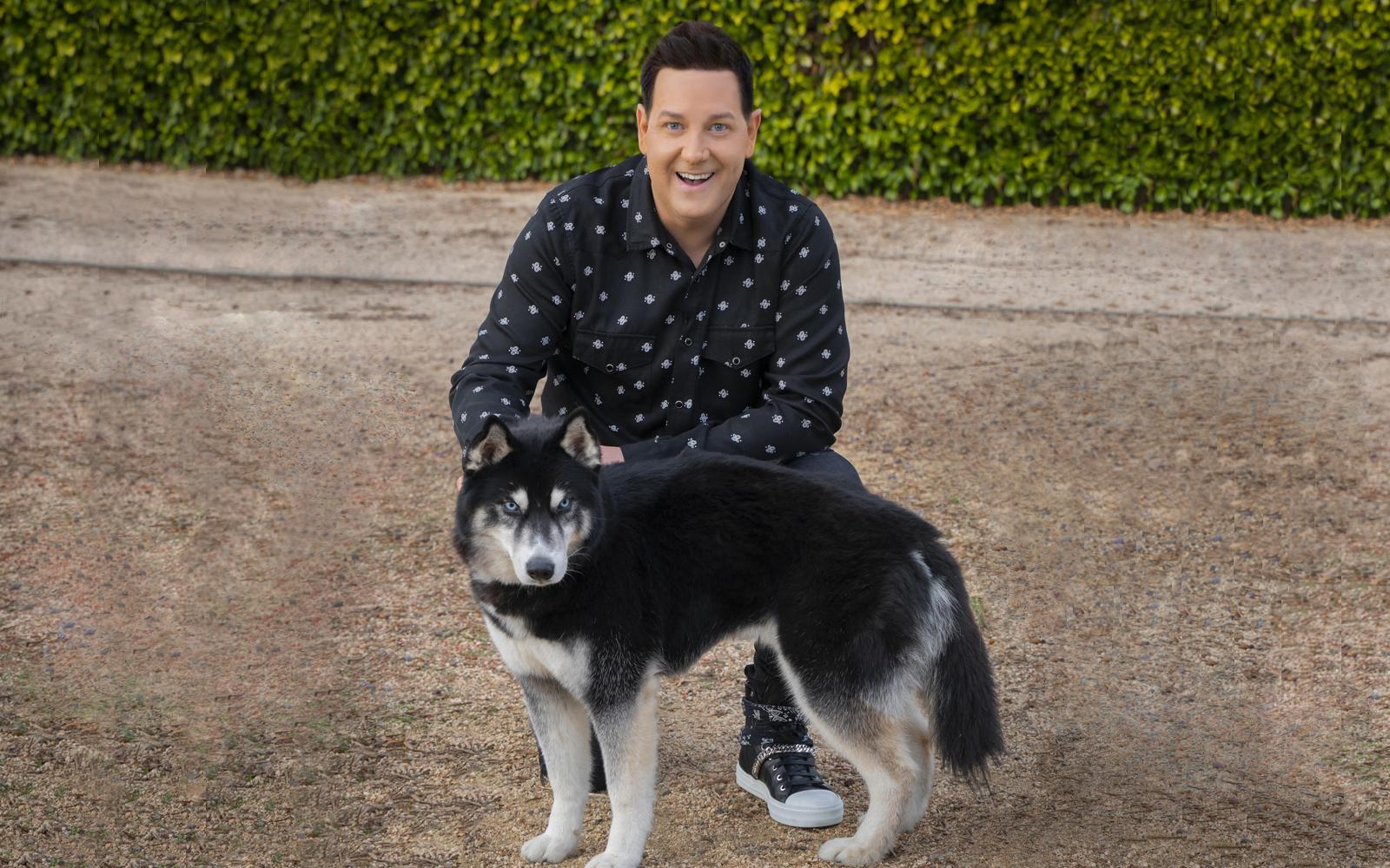 Magician Steve Wyrick and new husky dog.