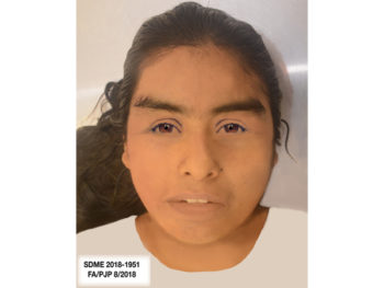 A forensic sketch of a young woman who was killed Aug. 9 but remains unidentified. Investigators are seeking the public's help to identify her.