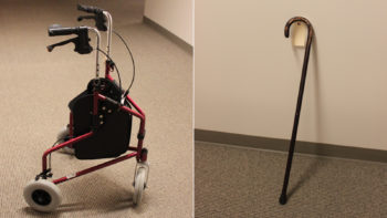 This red, three-wheeled walker and wooden cane were found near the train tracks where an unidentified man was struck and killed Tuesday night. The Medical Examiner is asking for the public to contact them if they know the name of the person who owned these items.