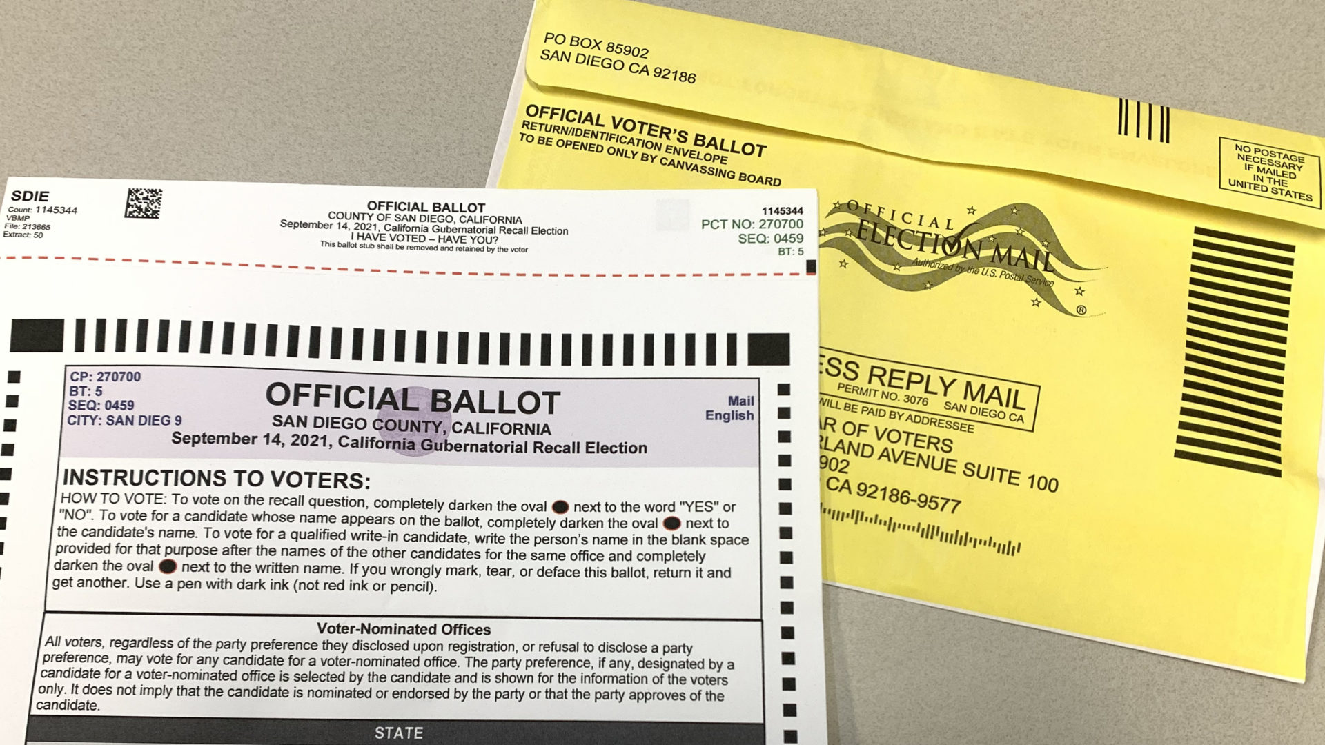 ballot with official mail-in envelope