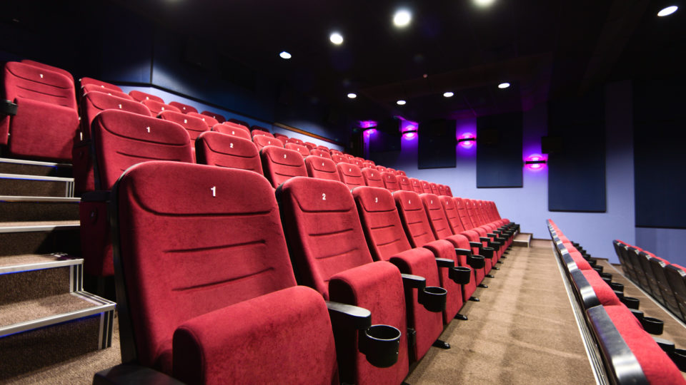 Empty seats at a movie theater