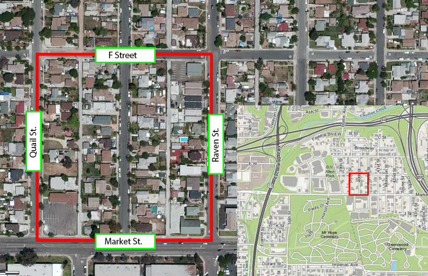 Vector Control will spray within the area bound by F Street, Raven Street, Market Street and Quail Street.