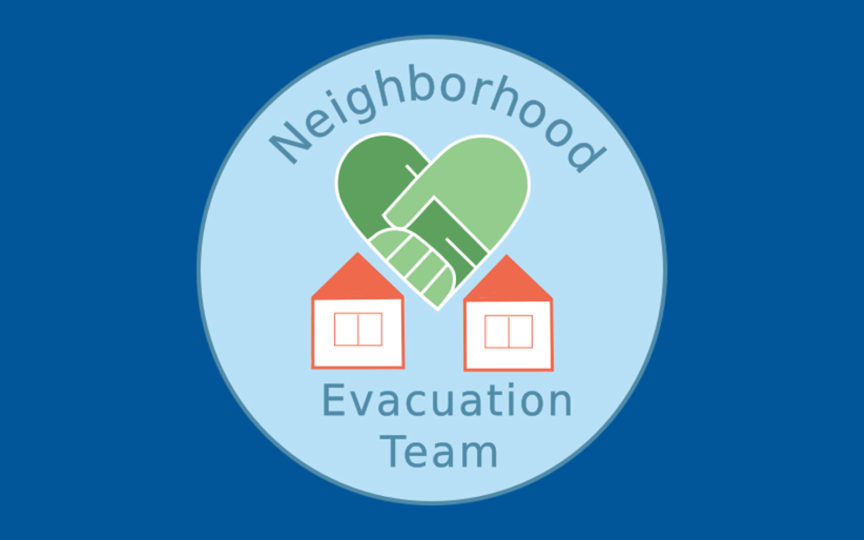 Logo for the Neighborhood Evacuation Team that shows two homes and the name of the program.