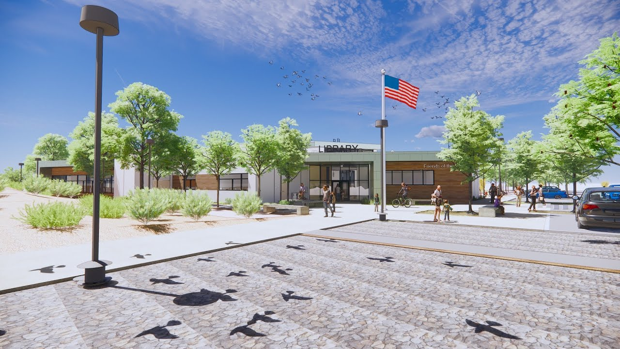 rendering of the Lakeside Library
