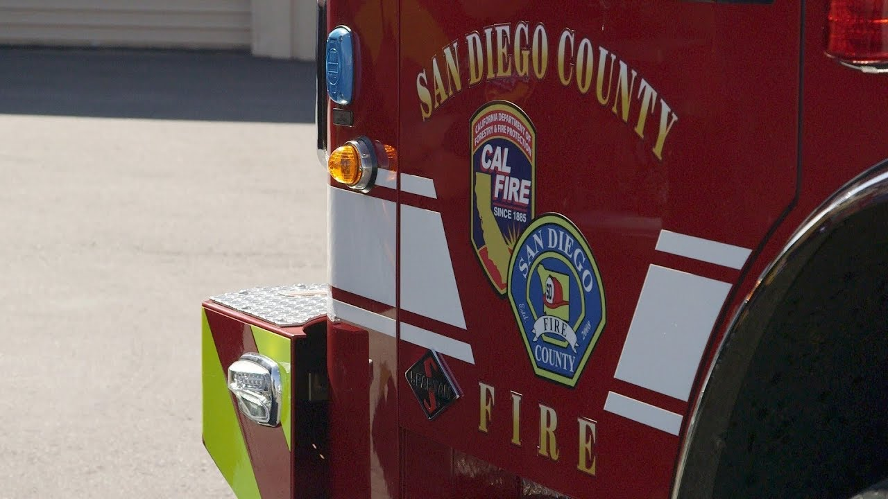 San Diego County Fire logo on truck door