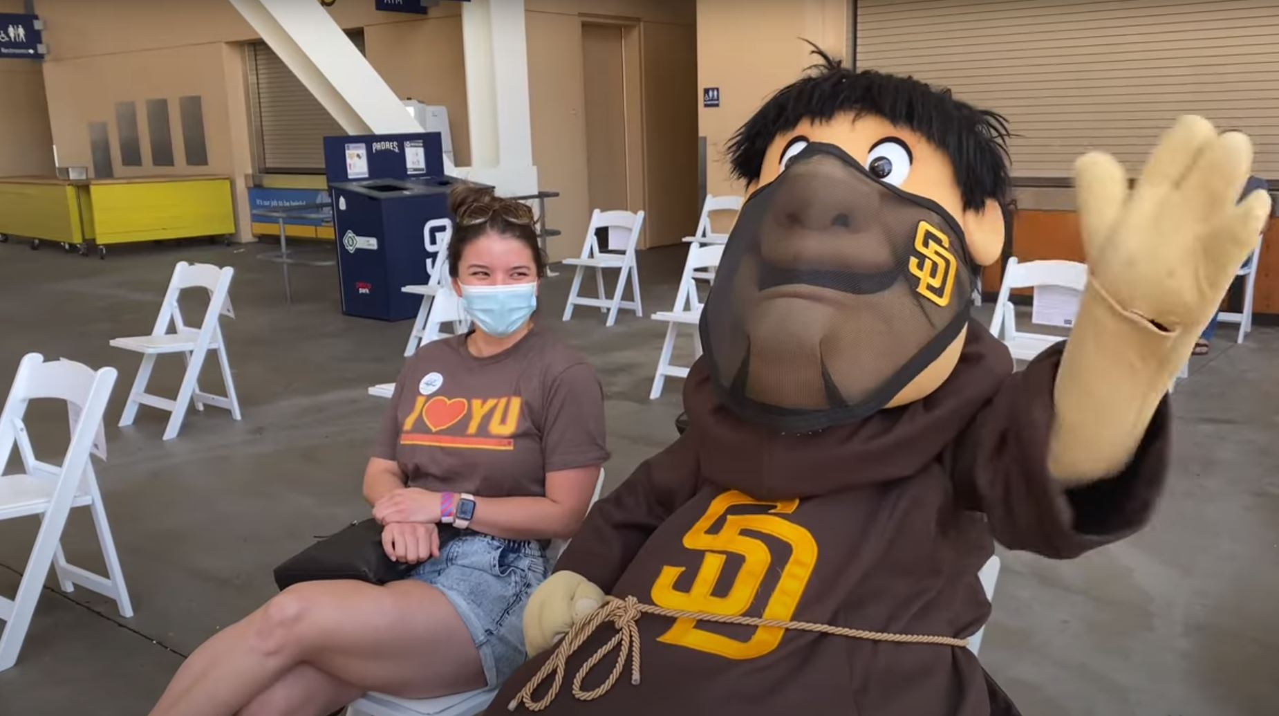 The Padre friar with a fan at Petco Park.