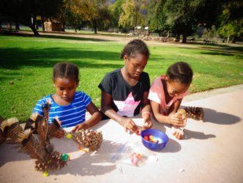 Pinecone turkey crafts at El Monte County Park