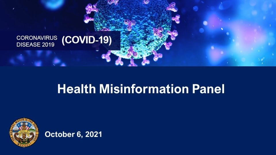 Health Information Panel slide with image of coronavirus and date