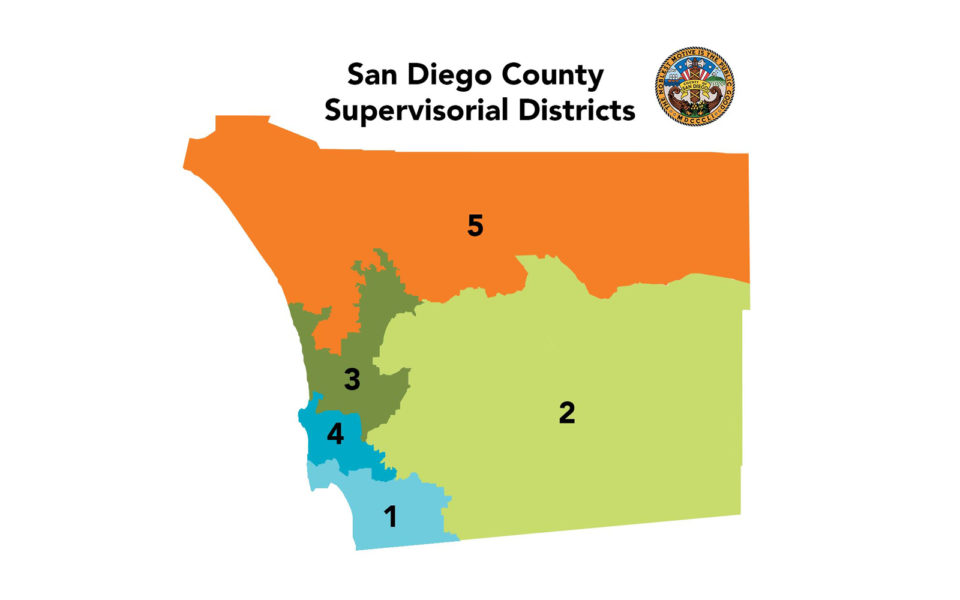 San Diego County Supervisorial Districts Map
