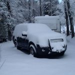 Snow covers a patrol car. Courtesy San Diego County Sheriff's Department