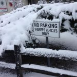 Snow covers a parking sign in Boulevard. Courtesy San Diego County Sheriff's Department