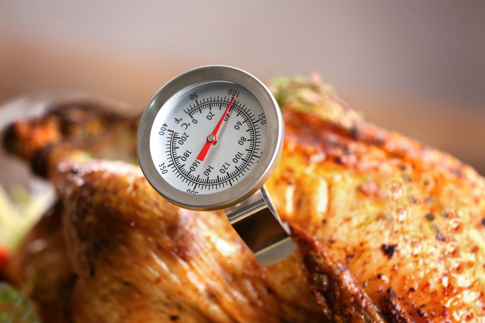 Roasted turkey with a food thermometer measuring internal temperature.